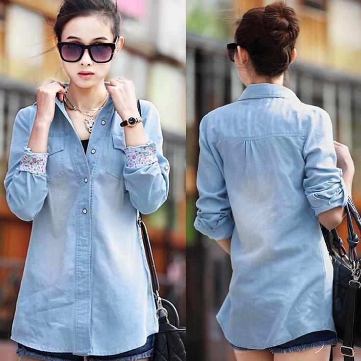 New Fashion Plus Size Medium-Long Blue Casual Denim Shirt Trun-Down Collar Large Women Blouse Free Shipping $25.00