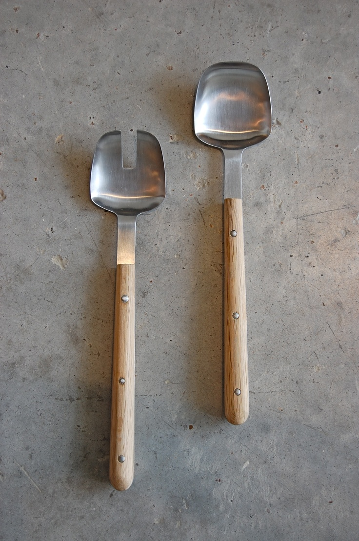 Oak and Stainless Steel Salad Servers from Spartan Shop.