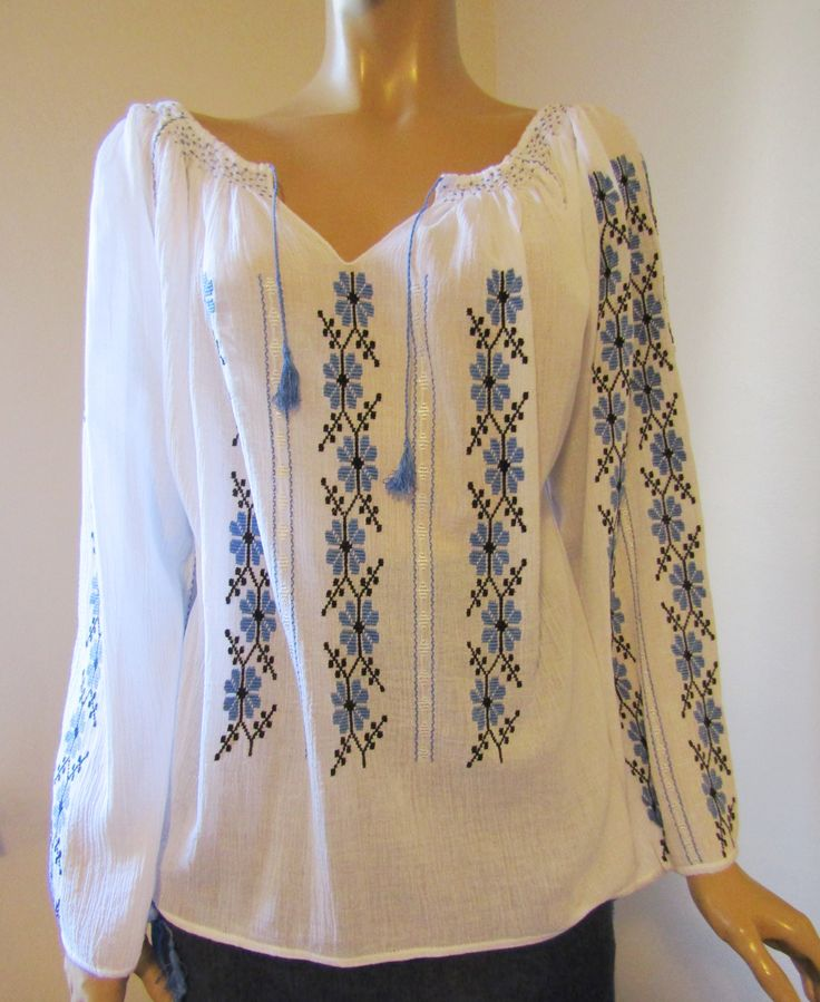 Hand embroidered Romanian peasant blouse, ethnic handmade top size M