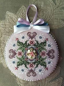 Finished Cross Stitch Ornament Just Nan Porcelain Nosegay Valentine Hearts