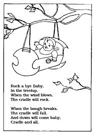 image result for nursery rhyme colouring sheets rock a bye babycolouring