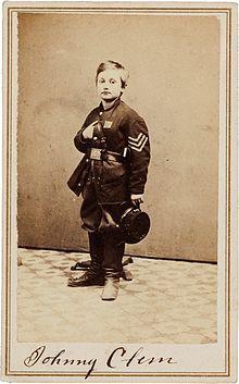 Lance Sergeant Clem, age 12, in 1863   John Clem signed CDV.