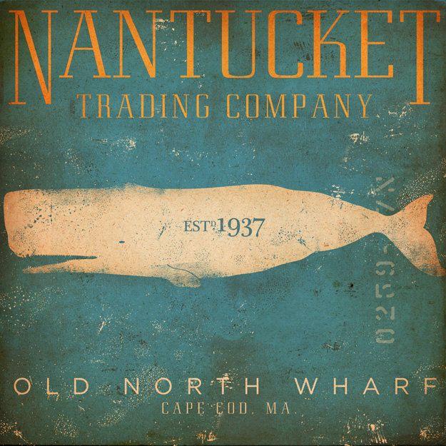 Nantucket Trading Company Whale original graphic art on canvas 12 x 12 by gemini studio. $80.00, via Etsy.