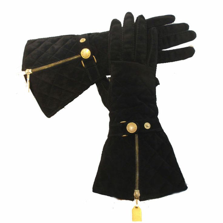 #TB Chanel Black Quilted Suede Elbow Length Gloves, Circa 1990