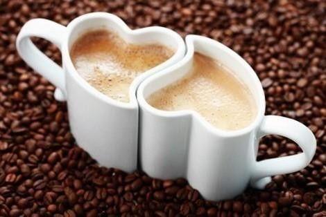 coffee love in heart shaped coffee cups!
