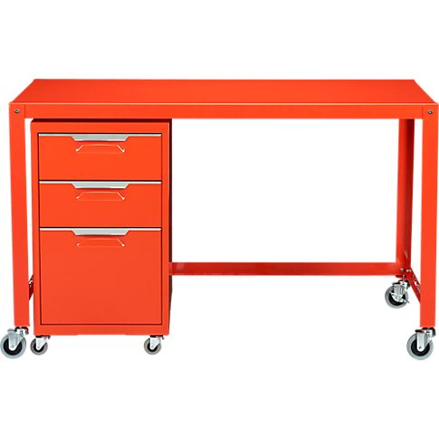 "GoCart bright orange Desk. 47.75""W x 23.75""D x 29.5""H- Steel with a bright orange powdercoat finish. Utilitarian design. Four industrial casters; two lock."