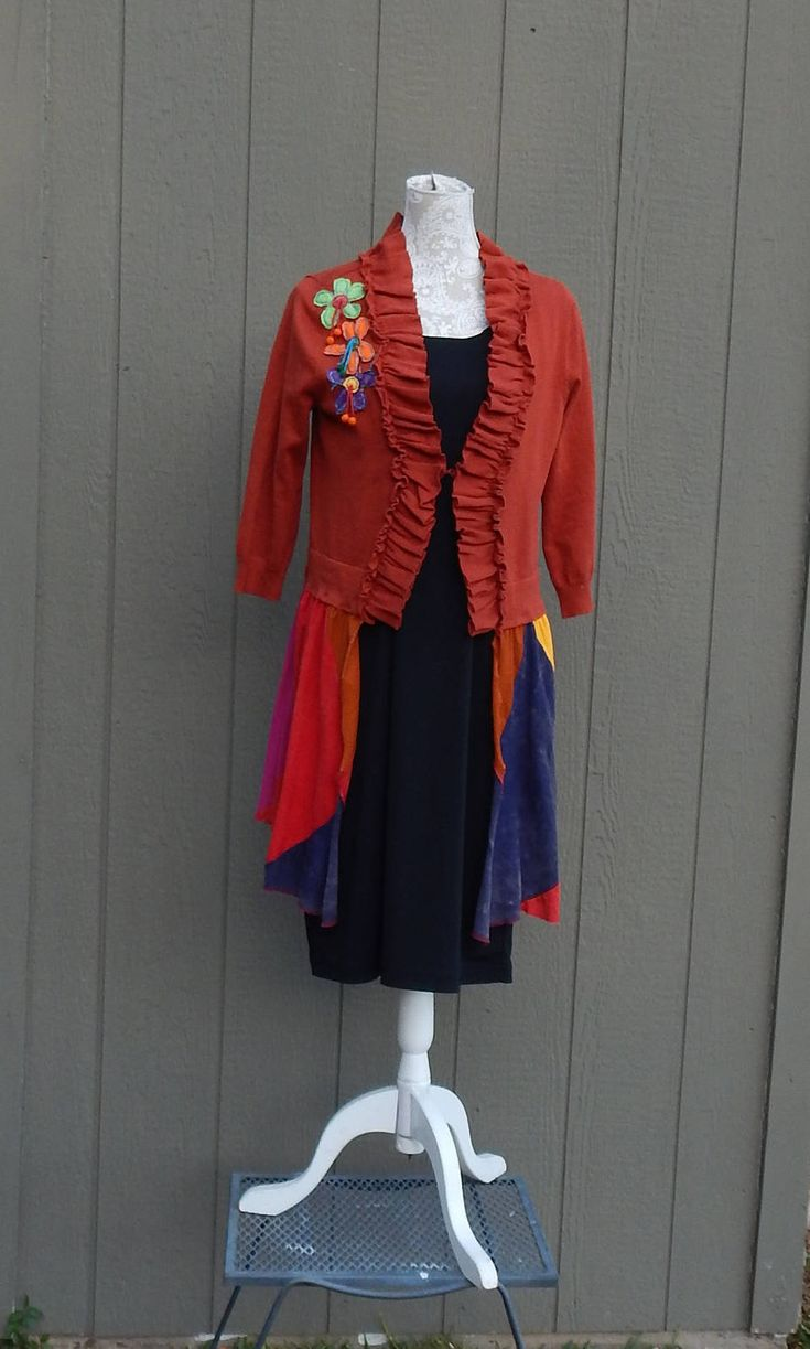 Altered Women's Gypsy Sweater, Jacket,Altered Couture, Size Large, Hippie Chic Tunic, BoHo Tunic,Rust,Orange,Purple, Funky Tunic,Lagen Look