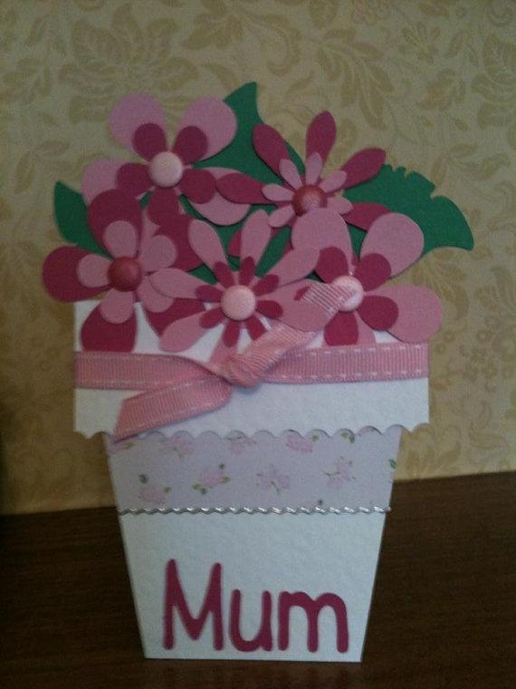 Handmade Flowerpot Mothers Day Card Mum Mam Mom By