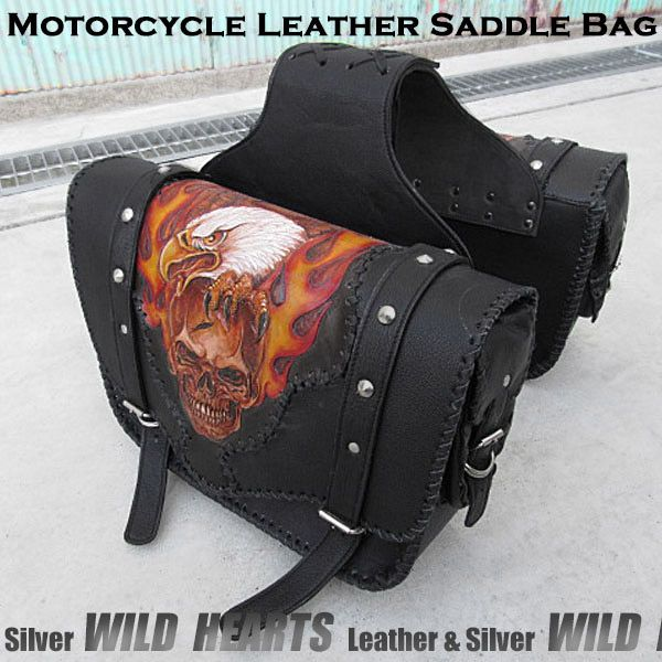 Well-made by leather craftsmen by hand!   Skull carved Leather Motorcycle Saddlebags Right&Left Throw over Saddlebags WILD HEARTS Leather&Silver (ID sb2118)   http://global.rakuten.com/en/store/auc-wildhearts/item/sb2118/