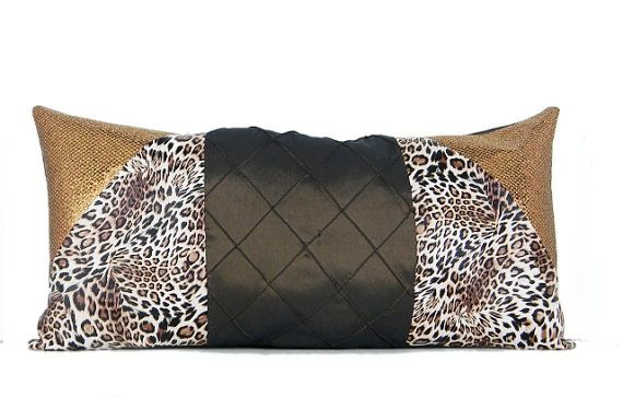 Decorative Cheetah Print Gold Shimmer Brown Satin Leather Pillow by ISMChick perfect statement piece for your living room of bedroom