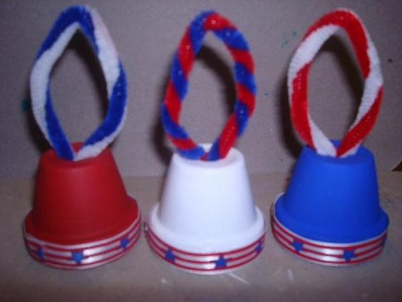 This is a set of 3 Mini USA Patriotic Bell Ornaments.
