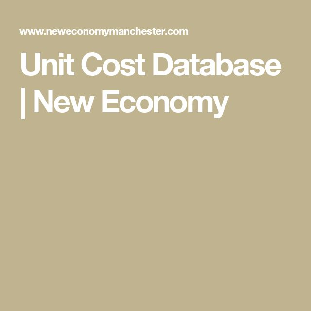 Unit Cost Database | New Economy
