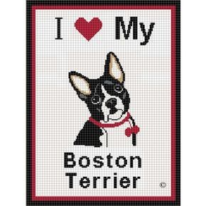 I LOVE MY BOSTON TERRIER DOG CROCHET PATTERN GRAPH AFGHAN BLANKET THROW DOG LOVERS CROSS STITCH TOO