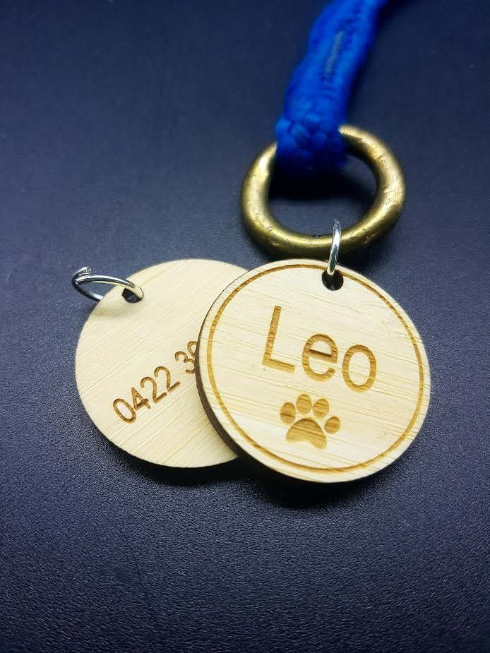 Double Sided Bamboo Pet Name Tag