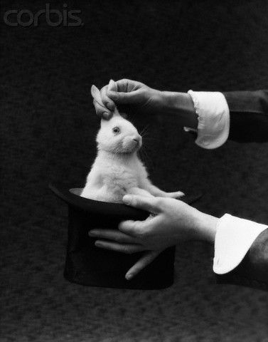 Vintage Magician photo by H Armstrong Roberts,  ca. 1935. ☚ Magic, bunny, rabbit, hat, vintage, magic show