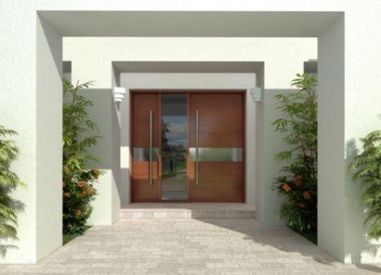 puerta de entrada principal moderna y de madera maciza