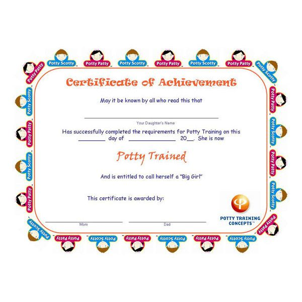 Free Potty Training Certificates for GIRLS