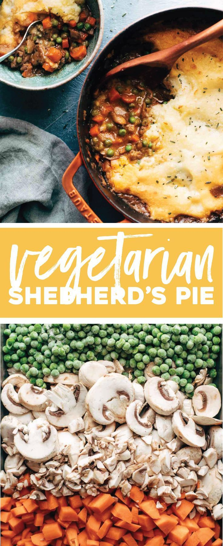 Vegetarian Shepherd's Pie ♡ saucy mushrooms, carrots, and peas topped with creamy mashed potatoes. Real food meets comfort food! #meatless #vegetarian #vegan #mushroom #shepherdspie #cleaneating #casserole #plantbased | pinchofyum.com