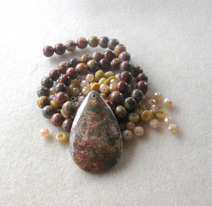 Blossom Agate, Leopardskin Jasper, Glass Beads, DIY Jewelry Kit, Jewelry Making Beads, Bead Kit, Gemstone Bead, Necklace Kit, Jewelry Design by CatsBeadKitsandMore on Etsy