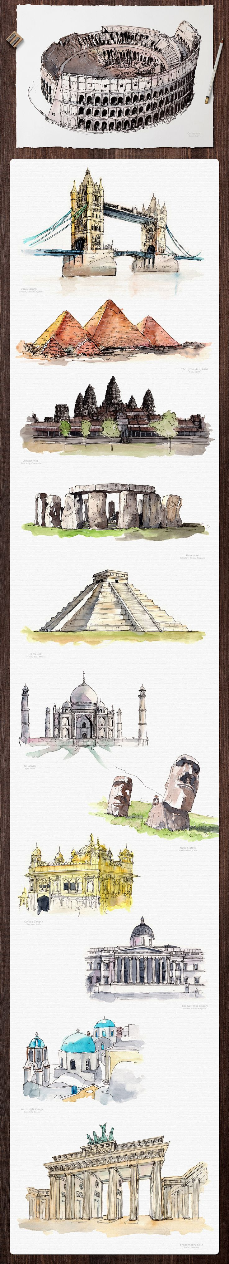 Watercolor Monument Paintings by emine on @creativemarket
