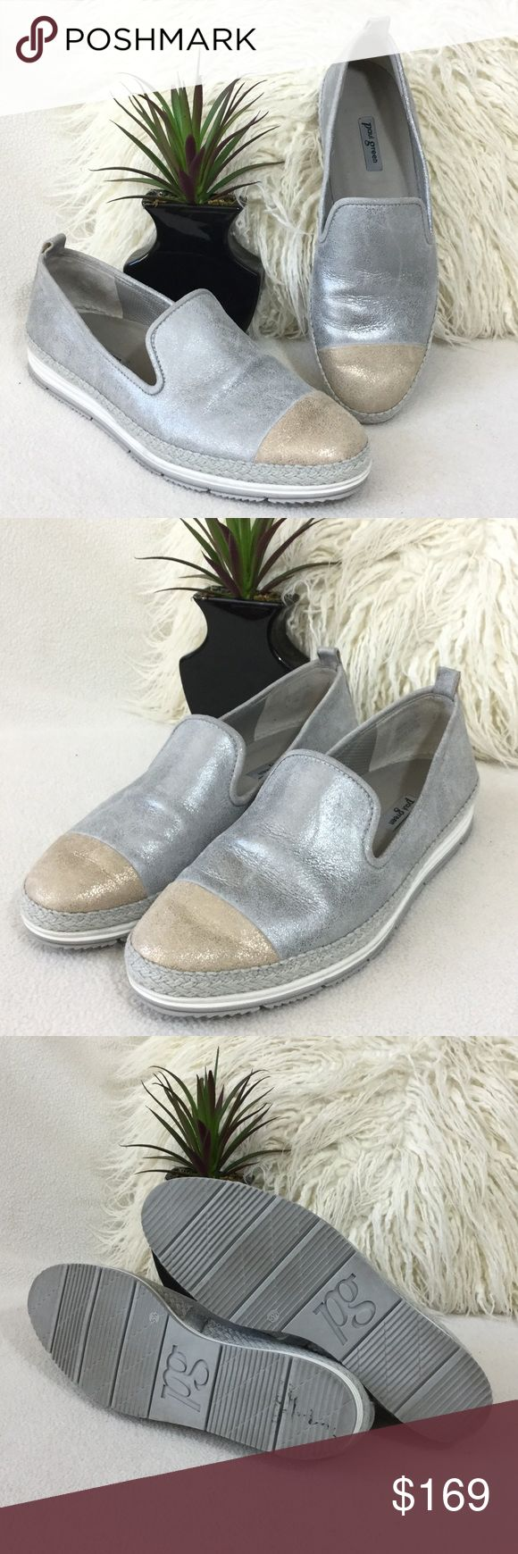 """Paul Green Leather espadrille slip-on sneakers Paul Green crackled silver Leather with champagne leather gold toe espadrille slip-on sneakers. Super comfortable and stylish.  Fits 8.5 just right. Insoles measure 10"""" long. Gently loved and in wonderful condition. 916-750 Paul Green Shoes Flats & Loafers"""