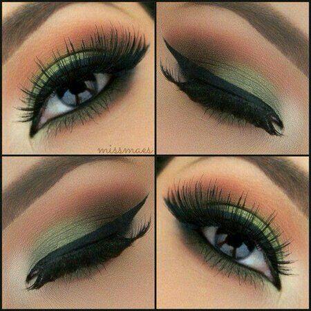 Yeşil göz makyajı eyeliner makeup