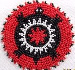 Red Black Turtle Beaded Rosette 2-1/2 inch  Many native items for sale and inspiration