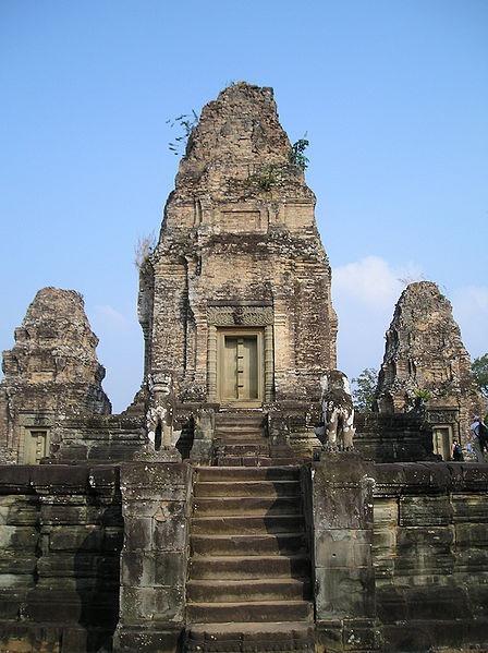 The East Mebon(Khmer: ប្រាសាទមេបុណ្យខាងកើត) is a 10th Century temple at Angkor, Cambodia. Built during the reign of King Rajendravarman, it stands on what was an artificial island at the center of the now dry East Baray reservoir.