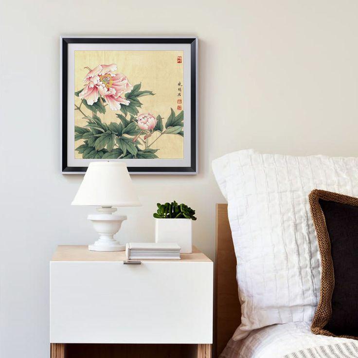 Pas cher rose pivoine chinois peintures fleurs photo toile vintage home decor - Decoration vintage pas cher ...