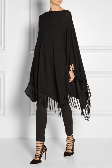 DKNY | Asymmetric fringed knitted poncho | NET-A-PORTER.COM