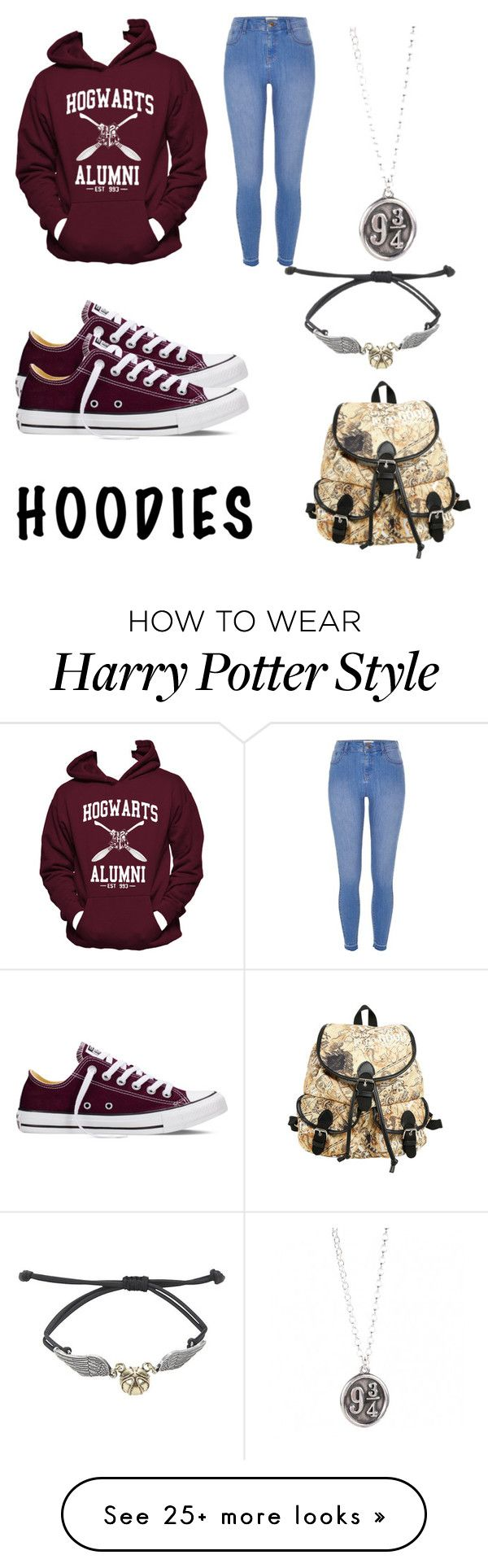 """Harry Potter hoodie"" by berrycake18 on Polyvore featuring Hanes, River Island and Converse"