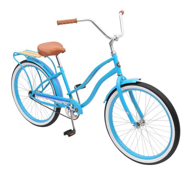"2-Speed Cruiser Tiffany Blue – $379.99 • Hang Ten ""T-Shirt"" Tagged Cruiser Saddle with Coil Springs • 2 Speed Kick Back Coaster Brake Hub • Steel Fork with 1 1/8"" Steer Tube • Hang Ten High-R…"