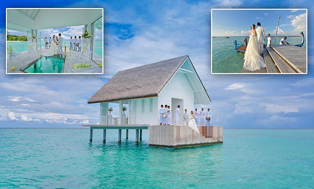 Four Seasons' Landaa Giraavaru Resort has you covered for your something blue! The Maldives resort opens overwater wedding pavilion with a glass aisle | Honeymoons.com
