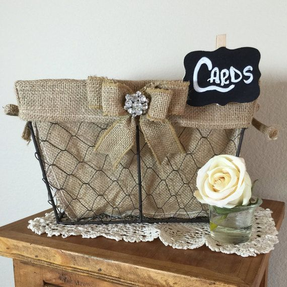 Rustic Wedding Card Basket Shabby Chic Or By ElianasTreasures