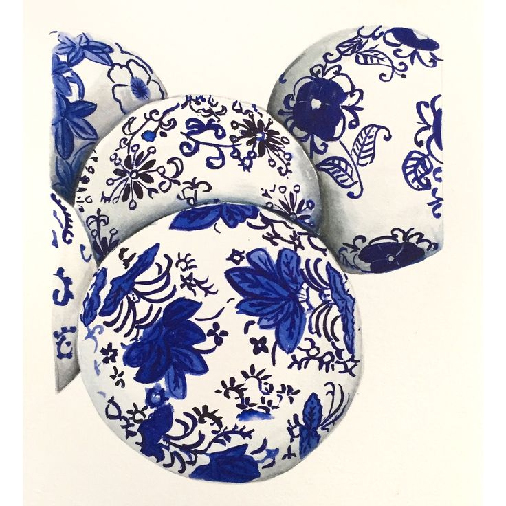 Chinese carpet balls watercolour. I love blue and white china a crazy amount