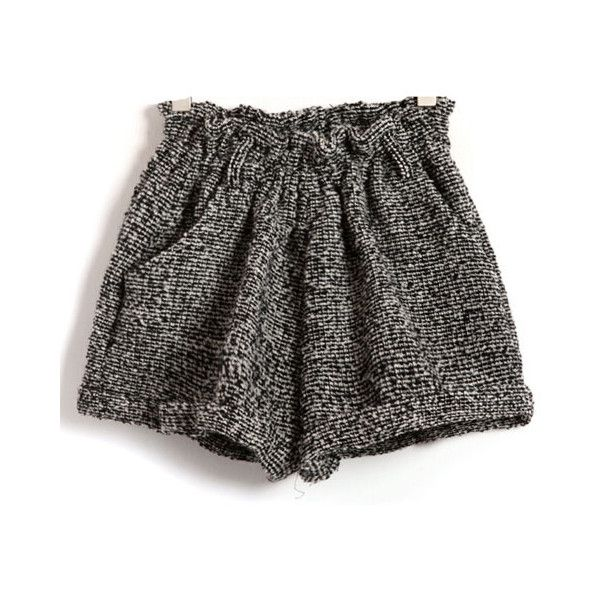 Light Gray Loose Fit Shorts with Ruffle Elastic Waist in Fleck Print ($39) ❤ liked on Polyvore featuring shorts, bottoms, pants, short, elastic waistband shorts, short shorts, loose fitting shorts, elastic shorts and flounce shorts