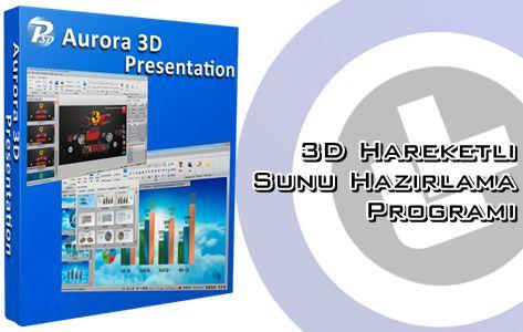 Yıllar önce kullandığım çok kaliteli bir sunum programıdır. Aurora 3D Presentation ile 3 boyutlu sunumlar hazırlayabiliyorsunuz üstelik hiçbir 3D, grafik, çizim bilginiz olmadan. Arayüzü çok basit hazırlanmış. Buna ek olarak örneğin şirketiniz için hareketli grafik tabloları hazırlayabilirsiniz. Hazırladığınız bu sunumları isterseniz programın proje dosyası olarak, isterseniz video formatında, isterseniz exe uzantılı program dosyasına çevirebilirsiniz.