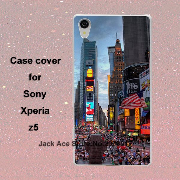 Таймс-Сквер ет Нова-Йорк чехол для Sony Xperia Z2 Z3 Z4 Z5 пластиковый белый чехол