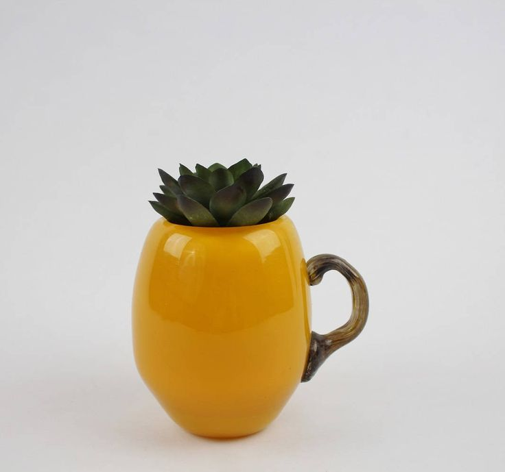 Vintage Hand Blown Glass Mug - Sunshine Yellow Coffee Cup by Suite22 on Etsy