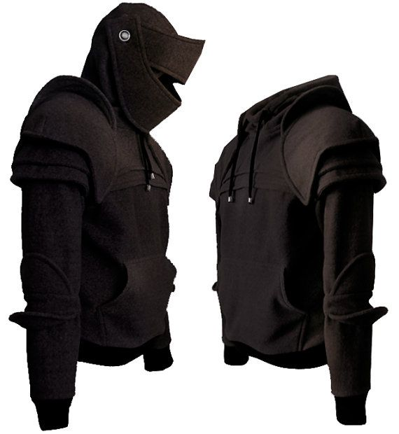 Black Duncan Armored Knight Hoodie100 Handmade Made by iamknight, $198.00 have the gray pinned already but black looks cool too