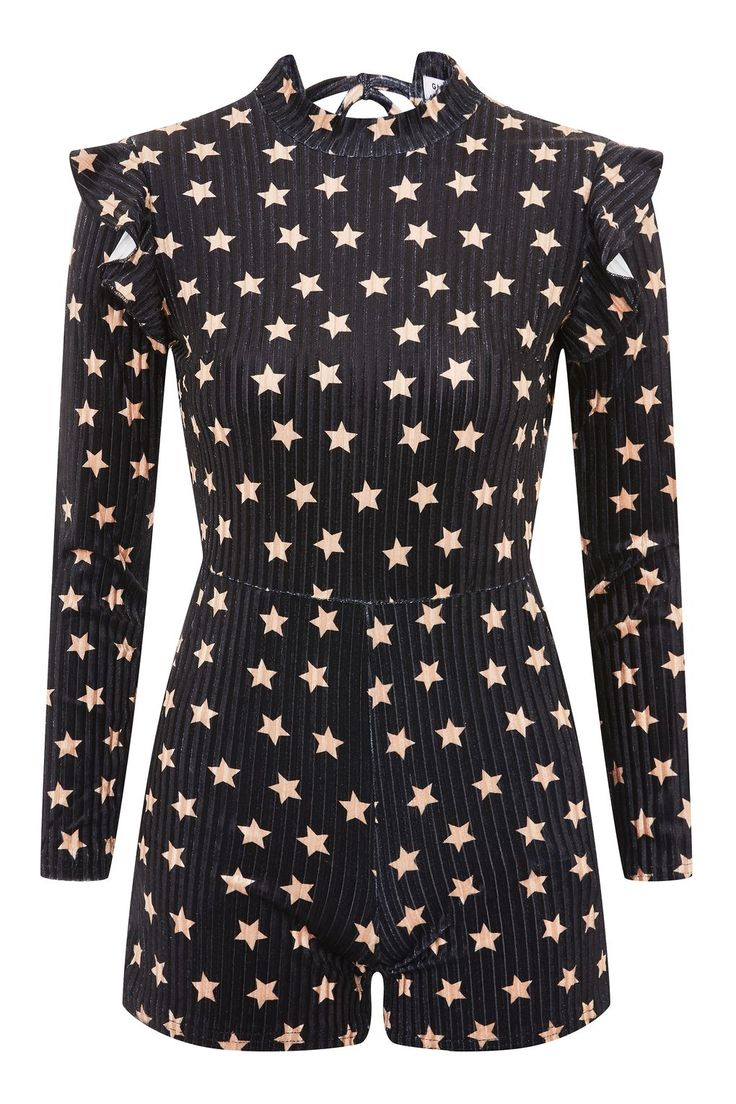 **Open Back Velvet Playsuit by Glamorous Petite - Clothing- Topshop