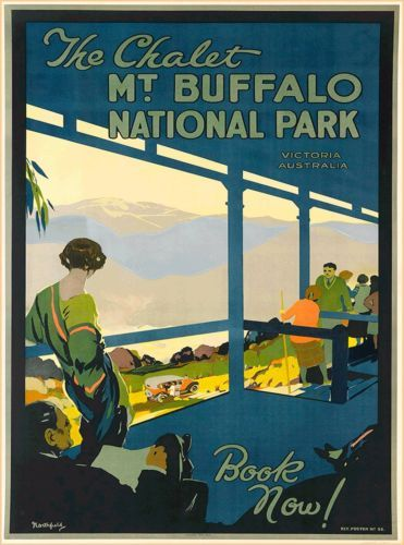 Victoria-Mt-Buffalo-Australia-Vintage-Railroad-Travel-Advertisement-Poster