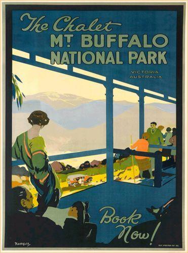 Victoria-Mt-Buffalo-Australia-Vintage-Railroad-Travel-Advertisement-Poster