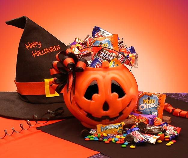 Tricks or Treats  Treat your favorite goblins to the Tricks or Treats gift basket! This Halloween Jack O Lantern overflows with miniature Halloween candies that everyone loves! A treasure of chocolate and a wealth of sweet treats will treat the scariest creatures when they dig into the Tricks or Treats gift basket. www.basketsofjubilee.com