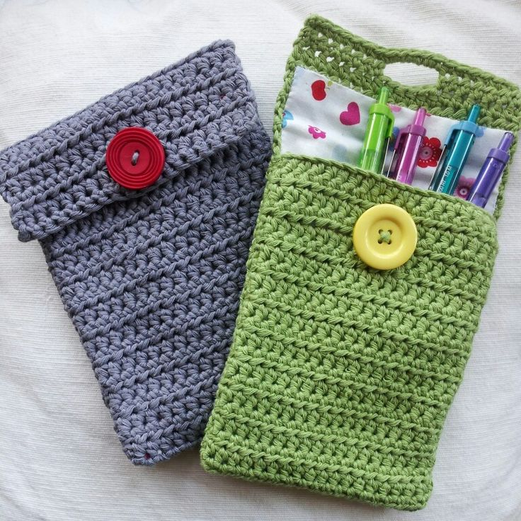 Simple lined crochet pencil case   Artesanatos diversos ...