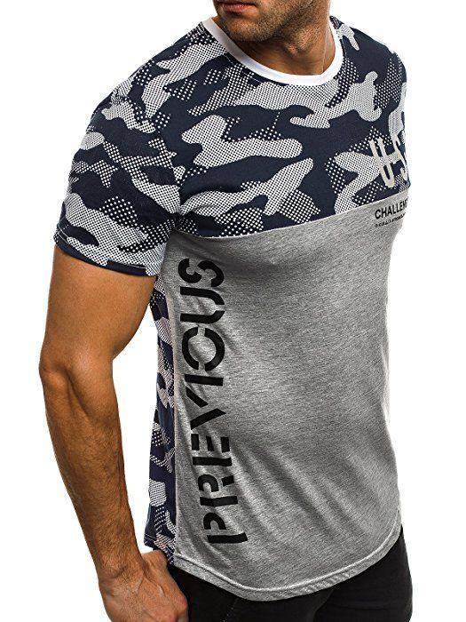 OZONEE Herren T-Shirt mit Motiv Kurzarm Rundhals Figurbetont J.STYLE SS125 GRAU M
