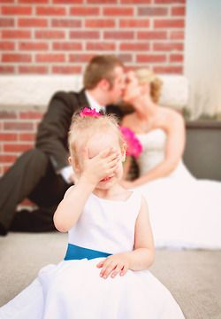 Flower girl, Bride, and Groom....would be cute too with ring bearer