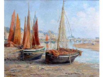 """Gauffriaud Emile (1877-1957), """"Les langoustiers à Poulgoazec"""""""