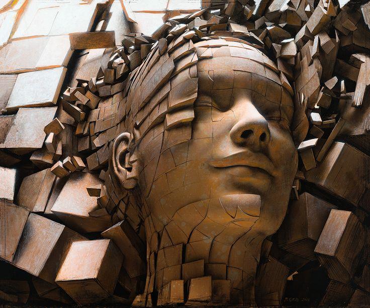 Peter Gric,Dissolution of Ego II, akryl, płyta, 25x50 cm.