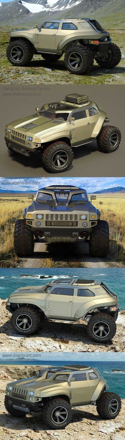 """♂ The latest creation of Romanian designer Andrus Ciprian is the HUMMER HB, an extreme off-road vehicle with almost no front or rear overhangs, and massive wheels and tires for tackling almost any surface."" - I have absolutely NO need for this, but for some reason I want it REALLY bad! lol"